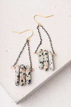Kendall; Dalmation stone earrings, $28.99 Buy fair trade and help restore hope for exploited women in Asia