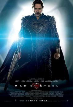 Russell Crowes Jor-El is featured on the latest poster for Zack Snyders Man of Steel! Hes carrying a Kryptonianweapon and is looking like hes determined to kick some ass.