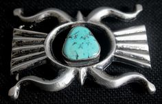 $585    Tufa Cast Butterfly Form Silver & Turquoise Buckle, Jewelry by Navajo