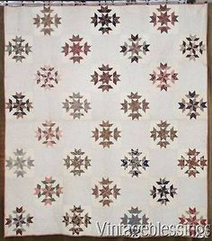 GREAT American Antique 19th c. QUILT Beautiful Fabrics! EARLY ONE Never Washed