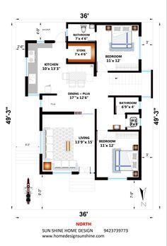 2bhk House Plan, 3d House Plans, Model House Plan, Indian House Plans, 2 Bedroom House Plans, House Layout Plans, Dream House Plans, House Layouts, Small House Plans