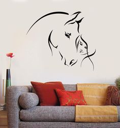 Details about Vinyl Wall Decal Abstract Horse Head Girl Pet Animal Stickers - - Simple Wall Paintings, Wall Painting Decor, Horse Wall Decals, Vinyl Wall Decals, Horse Wall Art, Sticker Vinyl, Wall Stickers, Wall Art Designs, Paint Designs