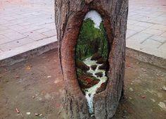 Wang Yu 10. painting inside tree knots.