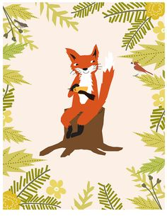 sweet fox with tea cup in woods by Dale Coykendall of Lizzy Clara on Etsy