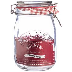 Buy Kilner Clip Top Jar, 1L, Red Online at johnlewis.com