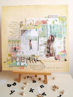 flickr set of scrapbook pages-- all very quirky, colorful, layered, collage-y style. #scrapbooking