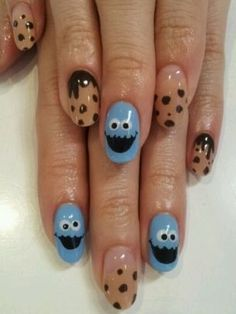 We want these nails! Lush Fab Glam: Style Me Pretty: Whimsical And Cartoon Nail Art Designs. Love Nails, Pretty Nails, Cookie Monster Nails, Happy Nails, Cute Nail Designs, Creative Nails, Cookies Et Biscuits, Diy Nails, Nails Inspiration