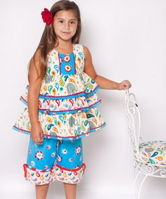 Take a look at this White Elle Ruffle Tunic & Capri Pants - Infant, Toddler & Girls by Jelly the Pug on #zulily today!