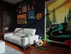 playroom with a huge fabulous wall art by Leire Sol García Asch-via houzz