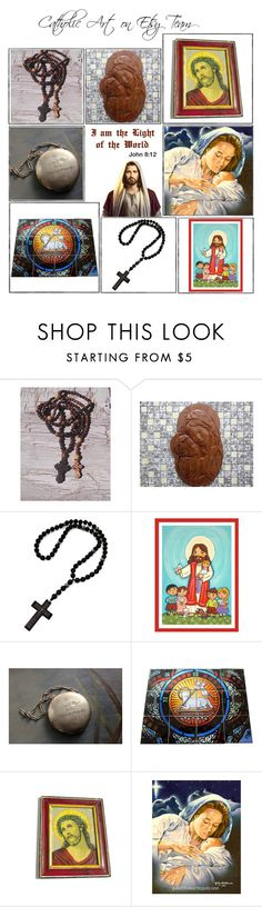 Religious Art on Etsy by TerryTiles2014 - Volume 237 by terrytiles2014 on Polyvore featuring interior, interiors, interior design, Casa, home decor, interior decorating, etsy, art, gifts and catholic