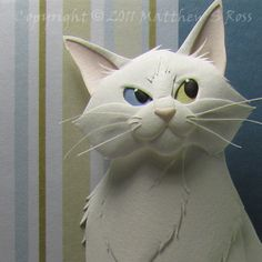 Odd Eyed White CAT Paper Sculpture 5 x 7 by by PaperMatthew, $150.00