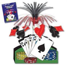 """$3.85  Playing Card Centerpiece.. 13"""" cascade"""