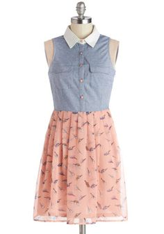 Casual dress, perfect for a date. Birdies pattern on pink skirt bottom ;D Can't stop love collared dresses ><' The Tweet Goes On Dress, #ModCloth