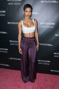 10/25/17 - Teyana Taylor at the PrettyLittleThing X Kourtney Kardashian Collection Launch in LA.