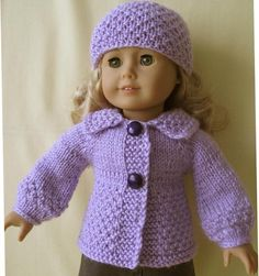"LAVENDER cardigan set for 18"" doll | Craftsy"