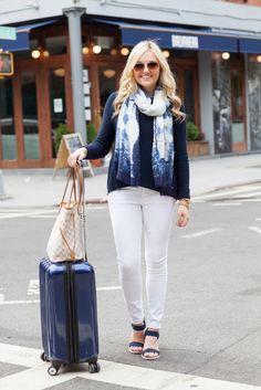 white jeans travel style outfit suitcase louis vuitton damier azur Louis  Vuitton Handbags 30eecee85b15a