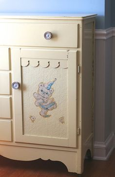 Vintage Nursery Childs Armoire Wardrobe Pale Yellow