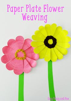 Paper Plate Flower Weaving - simple weaving for kids - preschool flower craft using a paper plate