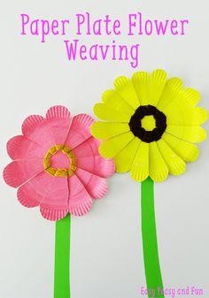 Paper Plate Flower Weaving - simple weaving for kids - preschool flower craft using a paper plate
