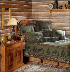 rustic cabin decor - cabin by the lake bedroom decor - cabin in the woods bedroom decorating ideas - moose fishing camping hunting lodge bedrooms for boys - black bear decor - rustic furniture - lodge cabin log cabin themed bedroom decorating ideas Log Cabin Living, Log Cabin Homes, Log Cabins, Rustic Cabin Decor, Lodge Decor, Rustic Cabins, Rustic Wood, Bedroom Themes, Bedroom Decor
