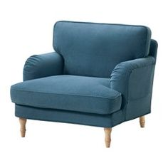STOCKSUND Armchair, Ljungen blue, light brown/wood - Ljungen blue - light brown - IKEA
