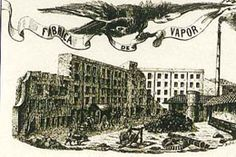 Historia de la economía y el comercio en el Raval Sud.  Sello de la fábrica textil Can Ricart, en la calle Sant Oleguer.