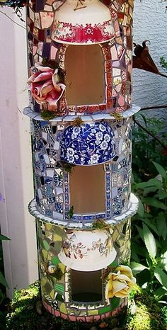 Mosiac - fairy tower - cool use for old china