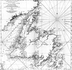 A detailed chart or map of the coastline of the island of Newfoundland, prepared by Captain James Cook.