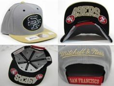 San Francisco ers Velcro Mitchell And Ness Snapback Hats c06d753f4233