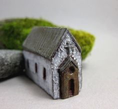 Long White Chapel...Rustic Miniature House in Stoneware