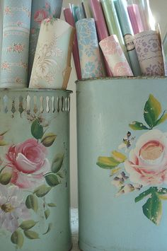 vintage wallpaper in vintage cans