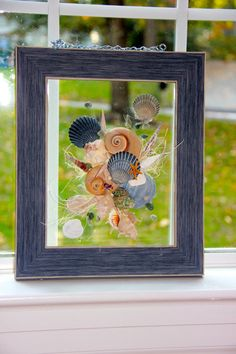 French Blue Framed Seashell Art perfect for a by RobinIngles, $35.00