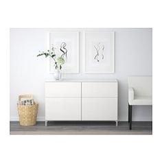 BESTÅ Storage combination with drawers - walnut effect light gray/Selsviken high-gloss/white, drawer runner, soft-closing - IKEA