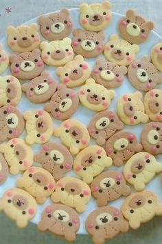 Teddy Bear Cookies Recipe - Yummy this dish is very delicous. Let's make Teddy Bear Cookies in your home! Teddy Bear Cookies, Teddy Bear Party, Teddy Bears, Cake Candy, Pink Chocolate, Red Food Coloring, Chocolate Decorations, Cute Cookies, Cute Food