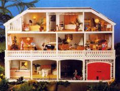 This is the style of Lundby dollhouse that my sister had when we were kids in Sweden.  I would love to have one of these now!  Working light switches in every room and stable for horses in this model.