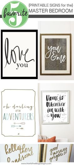 A fabulous round-up of signs for the home to use to help decorate and design your master bedroom. The best part? They're all free printables and DIY! #masterbedroomart #masterbedroomdecoratingideas #signsformasterbedroom #freeprintables
