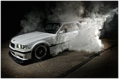 White BMW e36 burnout
