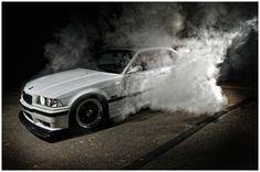 White BMW e36 burnout