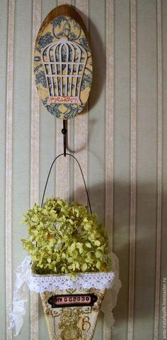 """Купить Интерьерная композиция """"Прованс"""" - интерьер, вешалка, вешалка-крючок, горшочки, для хранения, птички"""