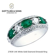 This 14K White Gold Diamond and Emerald ring will turn heads. This #emerald ring features alternating #oval emeralds and #diamonds to make anyone #green with envy. Visit your local #GottliebandSons retailer and ask for style number 27839. http://www.gottlieb-sons.com/product/detail/27839