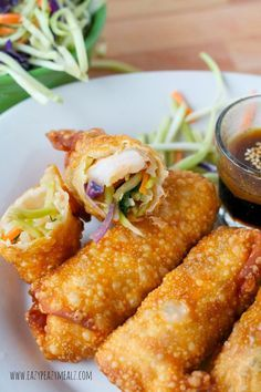 Baked or Fried Shrimp and Veggie Egg Rolls: No need for take out, these babies are so easy to make and are packed with fresh flavor! - Eazy Peazy Mealz (baking shrimp and veggies) Seafood Recipes, Appetizer Recipes, Appetizers, Cooking Recipes, Veggie Egg Rolls, Shrimp Egg Rolls, Chicken Egg Rolls, Asian Recipes, Healthy Recipes