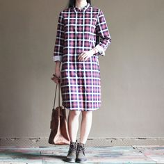 pink plaid cotton shirt dress vintage summer shift dressesThis dress is made of cotton linen fabric, soft and breathy, suitable for summer, so loose dresses to make you comfortable all the time.Measurement:  Size S length 94cm / 36.66