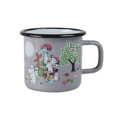Moomin Garden enamel mug holds dl. Grey mug feature several characters from the Moominvalley. Muurla combines design with durability in this retro Moomin enamel mug. Moomin Shop, Moomin Mugs, Grey Mugs, Vintage Crockery, Tove Jansson, Soup Mugs, Scandinavian Interior Design, Plates And Bowls, Cute Mugs