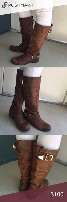 Steve Madden suspekt cognac Le boots Steve Madden cognac Le boots. Comes with original box! Great condition, lightly worn. Steve Madden Shoes Winter & Rain Boots
