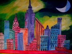 vintage canvas maps of new york | Acrylic on canvas representation of New York skyline.