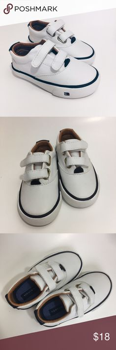 """BOGO FREE ⭐️ Tommy Hilfiger White Velcro Sneakers NWOT White sneakers with navy blue accent & brown inner lining makes these sneakers adorable for many outfits - for boys or girls! Velcro fasteners. Size 6 - 6"""" from front to back of bottom sole. Tommy Hilfiger Shoes Sneakers"""