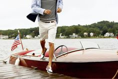 Perfect men's style. Even down to the boat. I have longed to have a boat like this since I was a little girl...