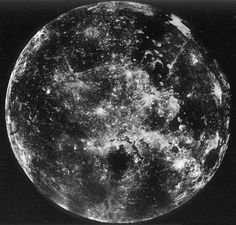 humanoidhistory:  The Moon, photographed by the Soviet Union's Zond-6 space probe as it flew around the lunar orb on November 16, 1968. Zond-6 crash-landed on Earth, resulting in a damaged film cannister, but 52 images were recovered. (via)