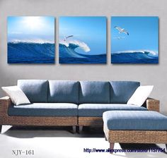 $39.98 - Nice Free shipping modern home decor canvas art blue abstract painting on canvas sea art wall decor painting wall frame decorative - Buy it Now!