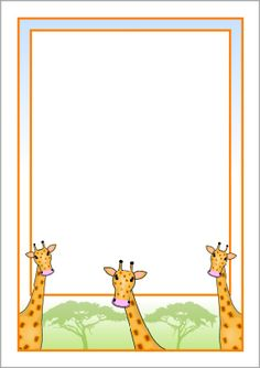 """Drop in Day"" welcome letter-place on desk with animal crackers! Giraffe page borders - SparkleBox Giraffe For Kids, Kids Zoo, Borders For Paper, Borders And Frames, Portfolio Kindergarten, Giraffes Cant Dance, Printable Border, Pretty Writing, African Theme"